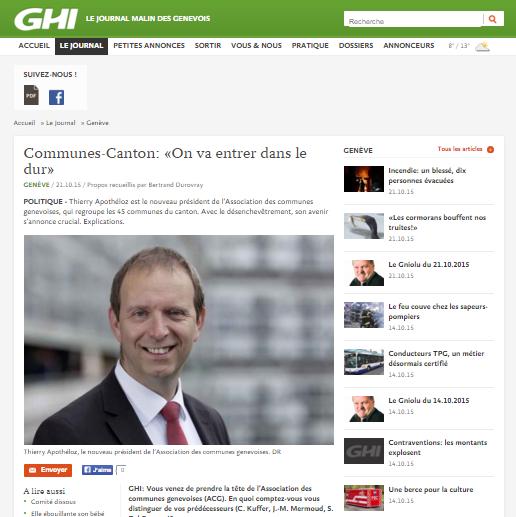 Photo d'écran du site de GHI où figure une interview de Thierry Apothéloz sur la répartition des tâches Canton-Communes