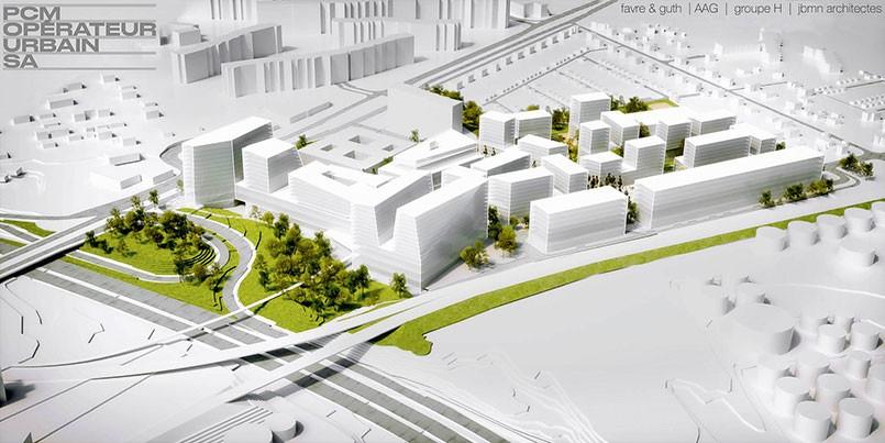 Maquette du futur quartier de l'Étang à Vernier