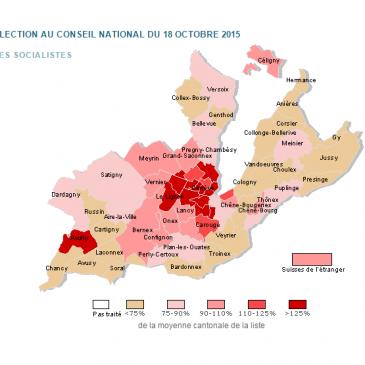 Top 3 des communes ayant le plus voté PS à Genève