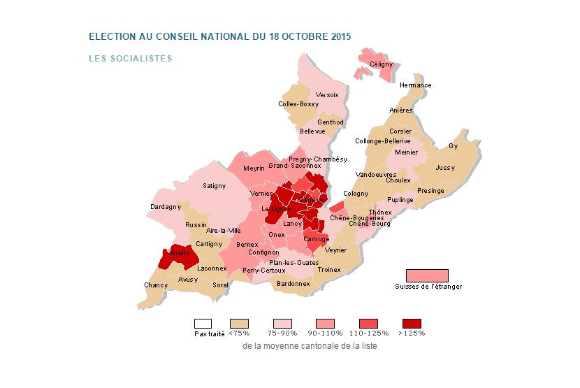 carte des résultats électoraux du PS dans le Canton de Genève selon chaque commune