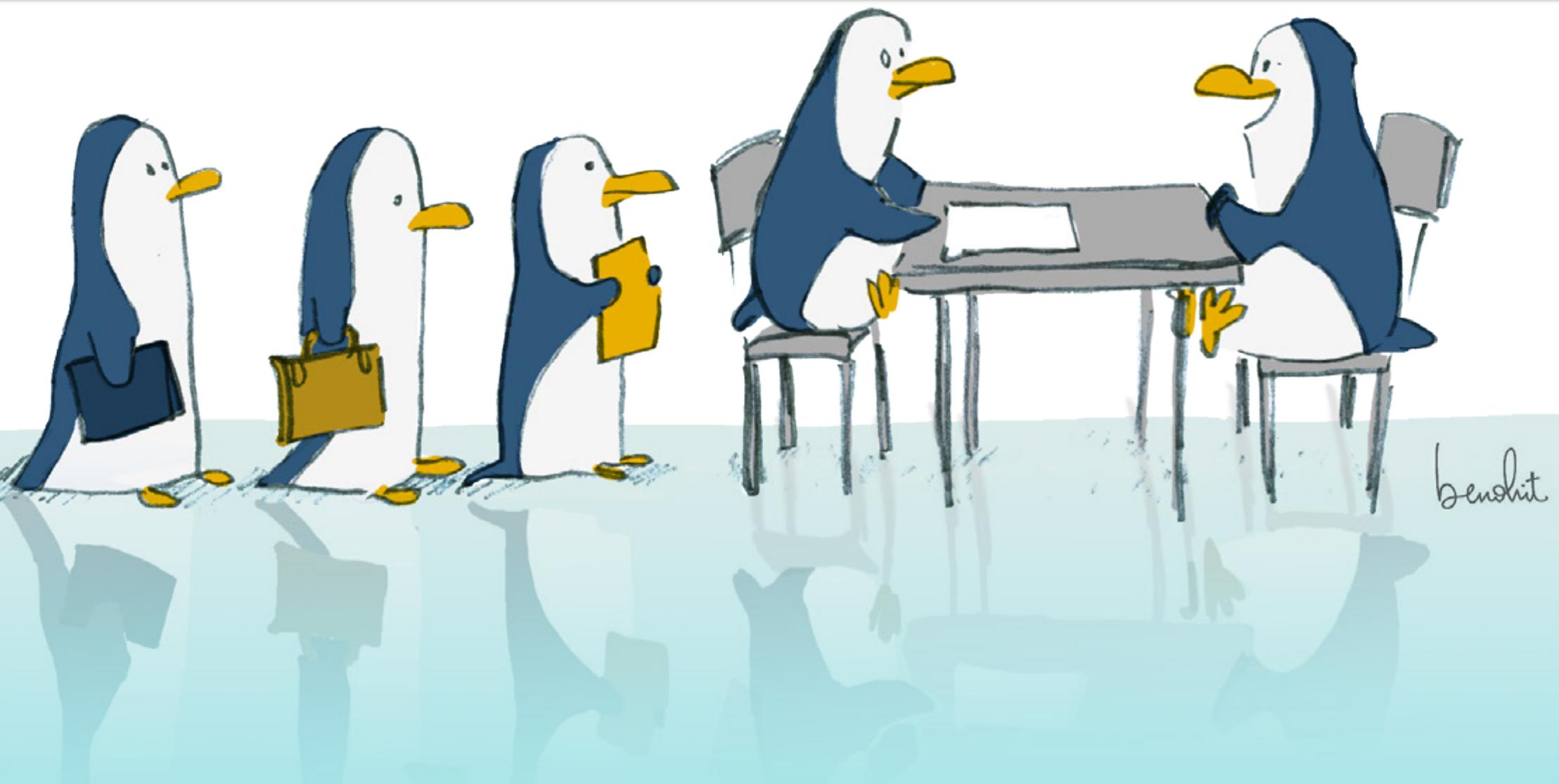 Dessins de pinguins font un recrutement
