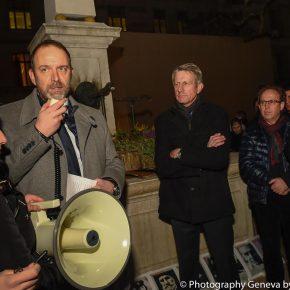 Thierry Apothéloz prend la parole à la Place du Molard